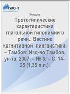 Прототипические характеристики глагольной гипонимии в речи.; Вестник когнитивной  лингвистики. – Тамбов: Изд-во Тамбов. ун-та, 2007. – № 3. – С. 14–25 (1,35 п.л.).