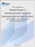 Инвестиции в человеческий капитал(методологический аспект)
