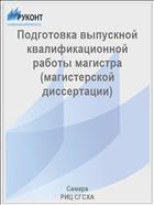 Подготовка выпускной квалификационной работы магистра (магистерской диссертации)