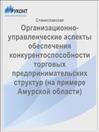 Организационно-управленческие аспекты обеспечения конкурентоспособности торговых предпринимательских структур (на примере Амурской области)