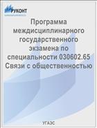 Программа междисциплинарного государственного экзамена по специальности 030602.65 Связи с общественностью
