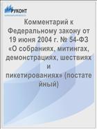 Комментарий к Федеральному закону от 19 июня 2004 г. № 54-ФЗ «О собраниях, митингах, демонстрациях, шествиях и пикетированиях» (постатейный)