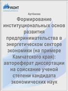 Формирование институциональных основ развития предпринимательства в энергетическом секторе экономики (на примере Камчатского края): автореферат диссертации на соискание ученой степени кандидата экономических наук