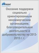 Оказание поддержки социально ориентированным некоммерческим организациям, благотворительной деятельности и добровольчеству на 2013-2015 г. г.