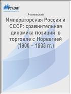 Императорская Россия и СССР: сравнительная динамика позиций  в торговле с Норвегией (1900 – 1933 гг.)